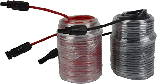 TEMCo 150' Red + 150' Black 10 AWG/Gauge Solar Panel Extension Cable with M/F Solar Connector Ends (Variety of Length...