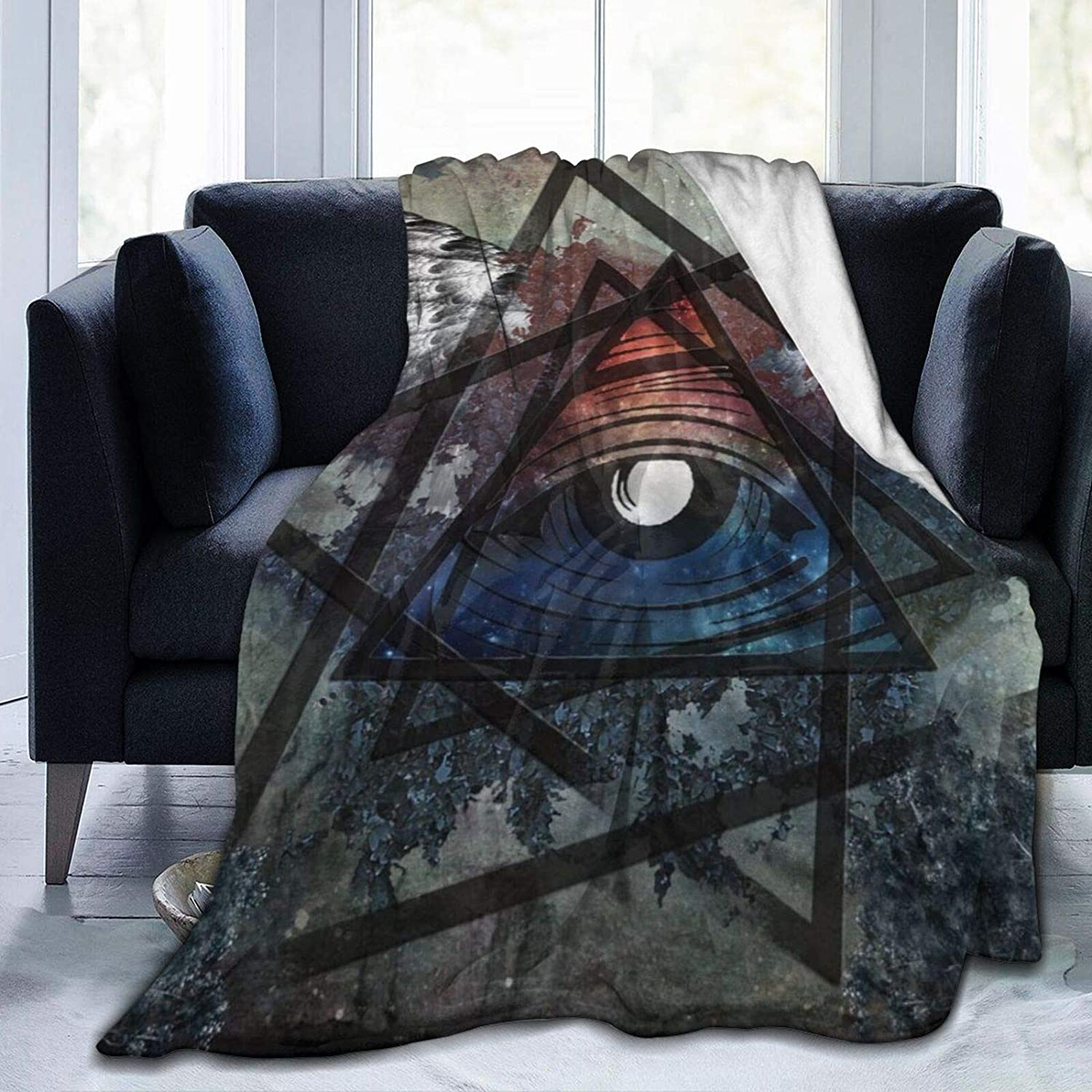 NewBHomeHome Illuminati All Seeing Eye Triangle Max 87% OFF Wings Cheap super special price Blan Throw