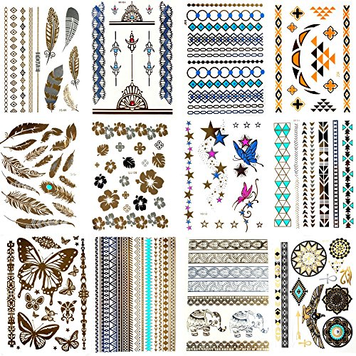24 SHEETS - Lola Tatt Premium Sheets of Metallic Temporary Tattoos Gold, Silver and Multi-Colored.