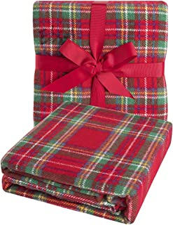 CozzyLife Super Soft Vintage Fluffy Plaid Throw Blanket-100% Acrylic Cashmere-Like- Bedspread Picnic Tailgate Stadium RV Glamping Camping Blanket Throw with Fringe,50