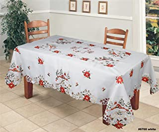 Creative Linens Holiday Christmas Tablecloth 70x140 with 12 Napkins Embroidered Red Poinsettia Christmas Tree Snowy Cabin Table Linen Rectangular White