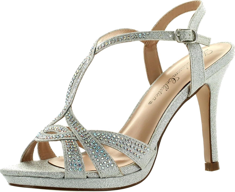DeBlossom Womens Marcie-15 T-Strap Glitzy Bridesmaid Prom Party Dress Pump shoes