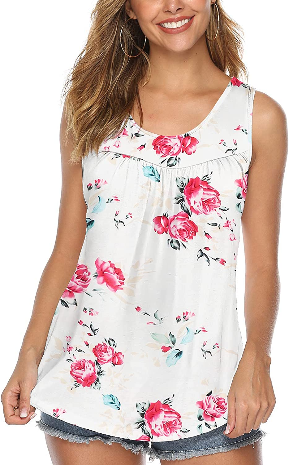 Arolina Womens Tank Tops Summer Loose Fit Neck Round Raleigh Mall Recommendation Sleeveless