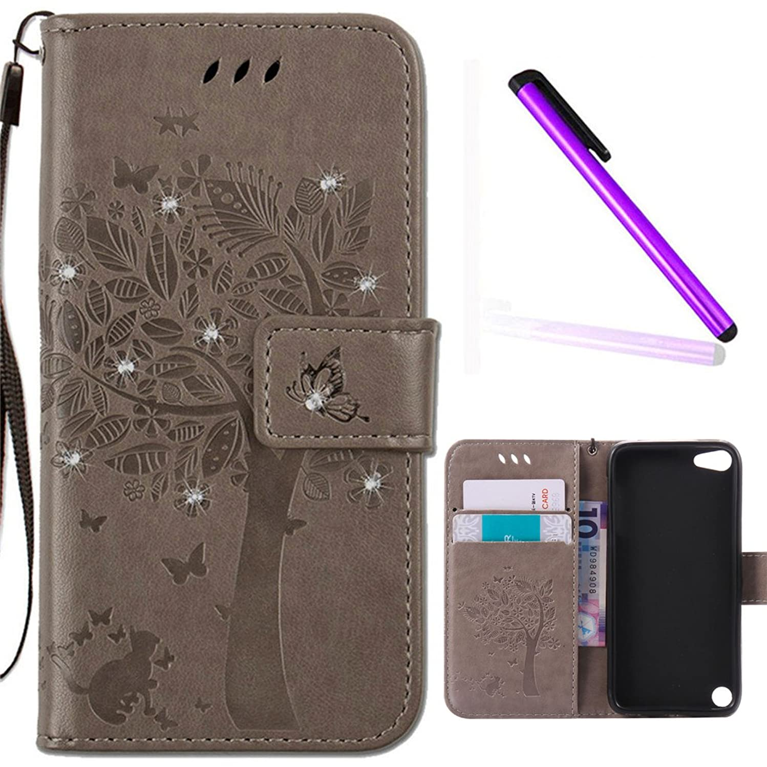 iPod Touch 6 Cover iPod Touch 5 Case EMAXELER Stylish Diamond Embossed Kickstand Credit Cards Slot Cash Pockets PU Leather Flip Wallet Case For iPod Touch 5 Wish Tree Gray