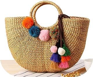 Beach Bag Straw Totes Bag Summer Bags Tassels Pom Pom Natural Basket Handbag,With Tassel,40Cm