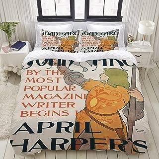 FAKAINU Duvet Cover Set, Poster Harpers Magazine Showing Joan arc, Decorative 3 Piece Bedding Set with 2 Pillow Shams