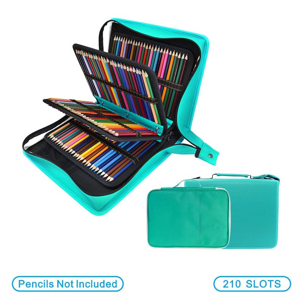 YOUSHARES - Estuche para lápices de colores de piel sintética con 200 + 16 compartimentos, gran capacidad, para lápices de colores Prismacolor, lápices de colores Crayola(verde): Amazon.es: Oficina y papelería