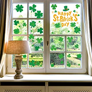 46PCS St. Patrick's Day Four Leaf Clover Window Sticker Decorations, Irish Shamrock Happy St. Patrick's Day Party Window Clings