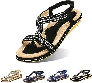 Camfosy Sandales Femmes Plates Été, Chaussures Été Nu Pieds Claquette Plage à Talon Plat Semelle Compensée Confortable Bri...