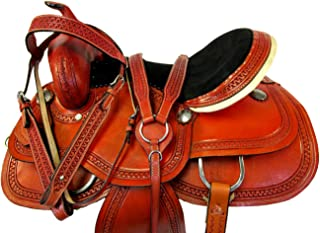 15 16 17 Western Rodeo Saddle Show Barrel Racing Racer Tooled Leather Horse Trail