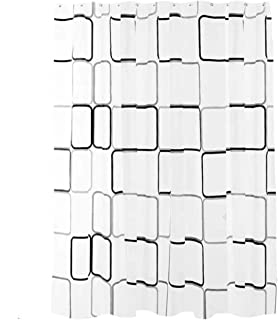 Shower Curtain Waterproof Durable Mildew Stain Resistant Stylish curtain for Bathroom (Square Printing Pattern, Width 180*...