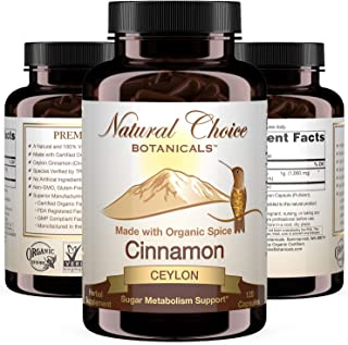 Certified Organic Ceylon Cinnamon, 1000 mg per Serving (500 mg per Capsule), Supplement - 120 Capsules, 2 Month Supply