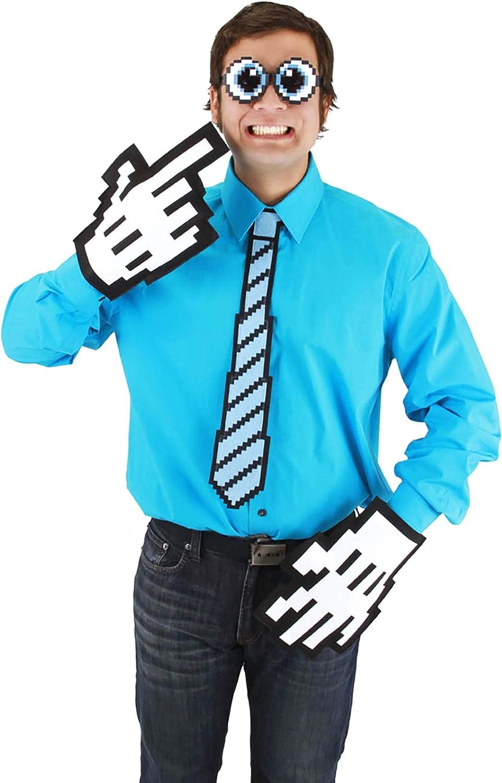 elope Adult Pixel-8 Costume Neck Tie, Blue/Black