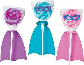 Fun Express - Superhero Girl Swirl Pop Set for Birthday - Edibles - Sucker & Pop - Swirl & Twist Pops - Birthday - 12 Pieces