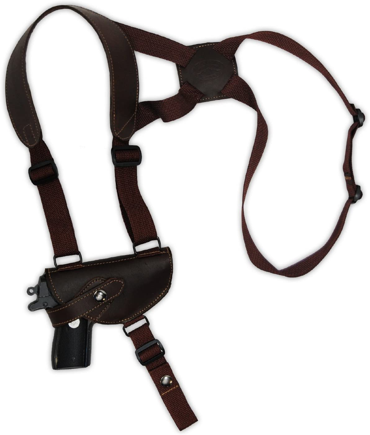 Barsony Brown Leather Cross Harness Shoulder Holster for Small 3