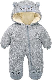 الوليد الشتاء زائد المخملية الدافئة الصوف رومبير الملابس طفل الفتيات الصبي بذلة الزي snowsuit معطف (Color : Gray, Size : N...