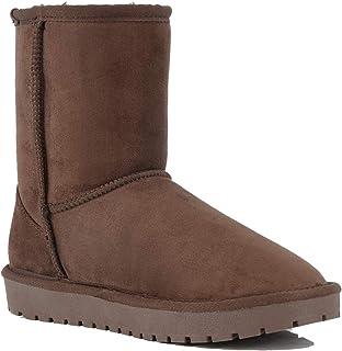 Lanyani Women`s Vegan Winter Boots Waterproof Classic Faux Sheepskin Warm Mid Calf Snow Boots
