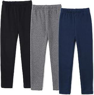 Sponsored Ad - iKIOHTI Children Girls Black Winter Leggings Fleece Lined Pants Toddler Kids Warm Jeggings, Size 4-12, 3-Packs