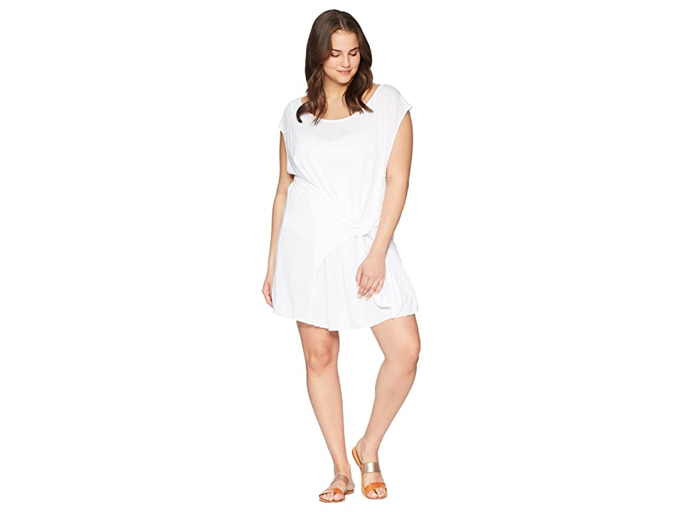 BECCA by Rebecca Virtue Plus Size Breezy Basics Dress Cover-Up (White) Women