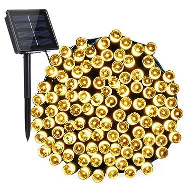 Toodor - Luces solares de Navidad (200 LED, 8 modos, luces de Navidad al aire libre, luces solares impermeables para árbol de Navidad, cerca, vacaciones, fiesta, balcón (blanco cálido)