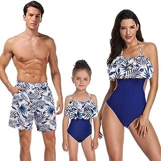 JJAI Family Matching Swimsuit Printed Ruffles Monokini Off Shoulder Bathing Suit