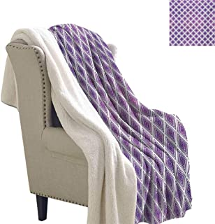 Gabriesl Purple Flannel Bed Blankets 60x78 Inch Retro Style Innovative Abstract Squares Pattern Modern Design Graphic Print Sherpa Throw Violet and White