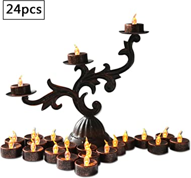 Advocator Black Flameless Candles Small Electric Tea Lights Battery Operated Fake Candles Vintage Votives Tealight Candles for Festival Halloween Home Decorations 12pcs