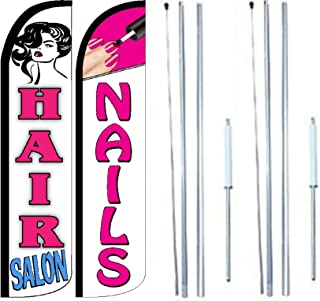 Hair Salon Nails King Windless Flag Sign With Complete Hybrid Pole set - Pack of 2