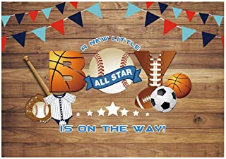Funnytree 7x5ft All Star Sports Party Backdrop Baseball Little Boy Baby Shower Rustic Wooden Photography Background Football Batter Up Bunting Retro Wood Banner Cake Table Decoration Photo Booth