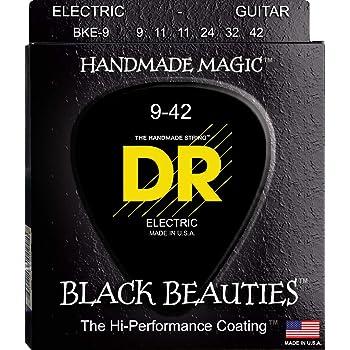 DR Strings Electric Guitar Strings, Black Beauties - Extra-Life, Black Coated, 9-42