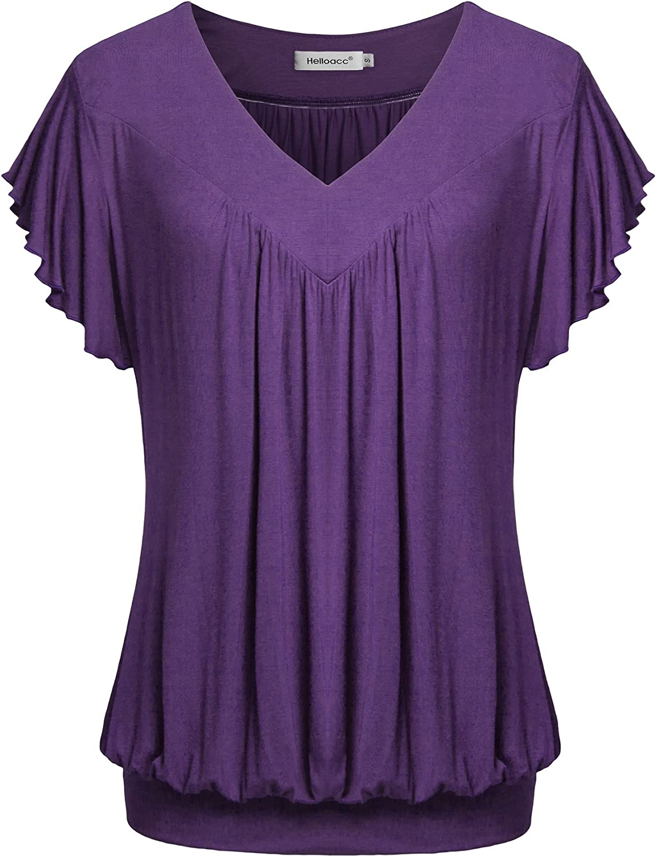 Helloacc Womens V Neck Short Ruffled Cap Sleeves Banded Hem Bottom T Shirts Loose Tops with Shirred