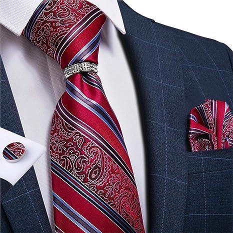 WOXHY Corbata de los Hombres Corbata de Boda de Seda Rayada ...