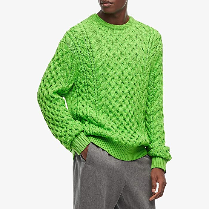 rag and bone  Aran Crew (Lime) Mens Clothing
