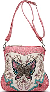 Western Style Butterfly Tooled Leather Women Purse Cross Body Handbag Concealed Carry Single Shoulder Bag