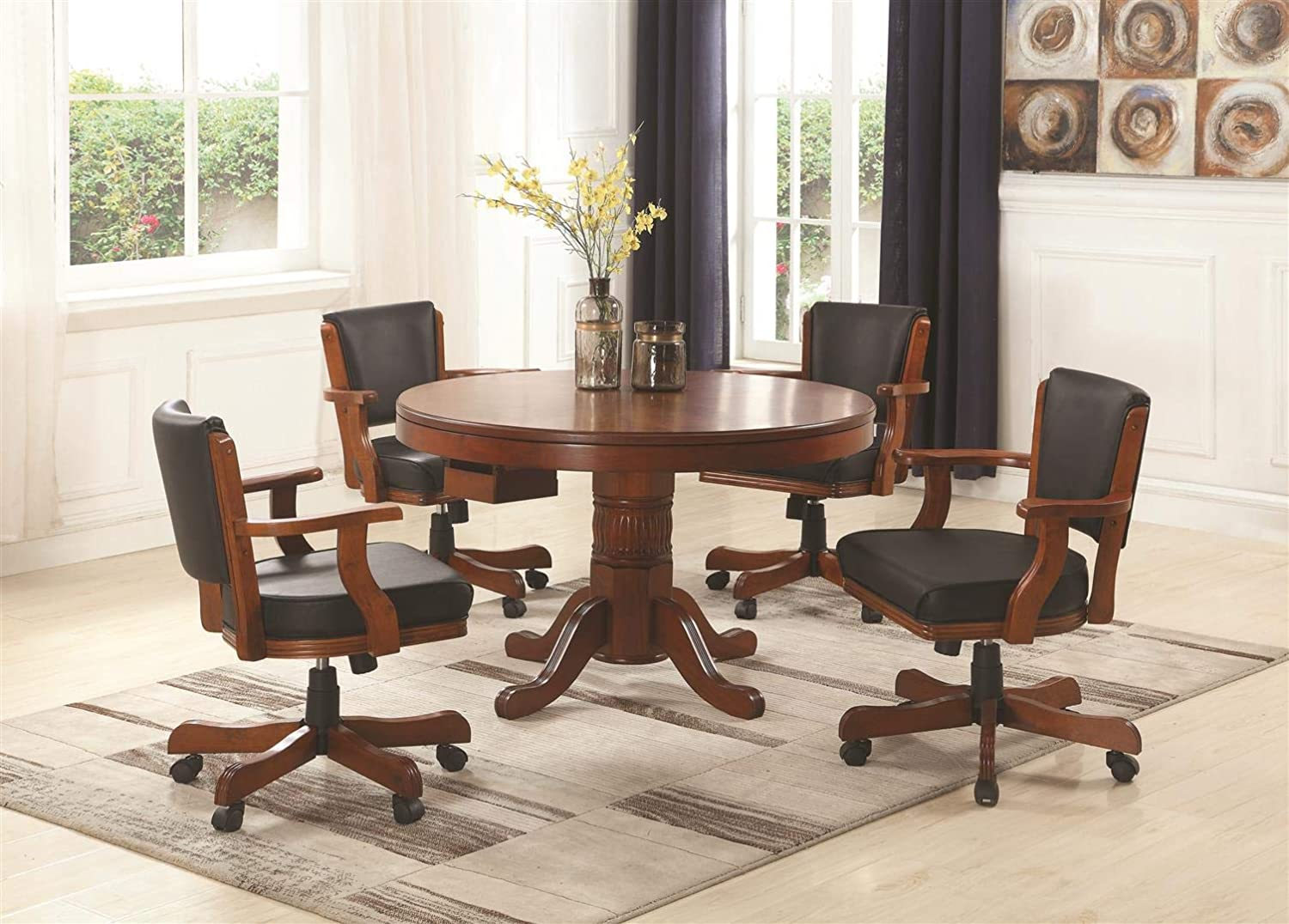Coaster Home Furnishings Mitchell 5-Piece Game Table Dining Set Merlot and Black