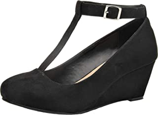 Women's Wide Width Wedge Shoes - Mary Jane Heel Pump with T-Strap.
