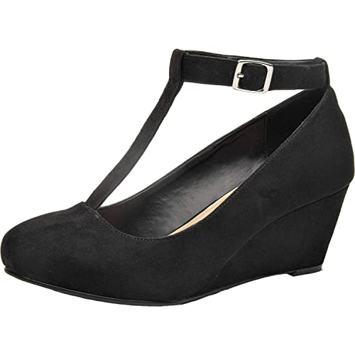 f5f31df9a2 Luoika Women's Wide Width Wedge Shoes - Mary Jane Heel Pump with T-Strap.