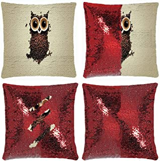 MusendoCustomPrints Designer Throw Pillow Cover 18 x 18 Inches Reversible Sequin Pillowcase Cover Home Decor Cushion Cover (an Owl Made of Coffee Beans and Eyes from A Coffee Cup)