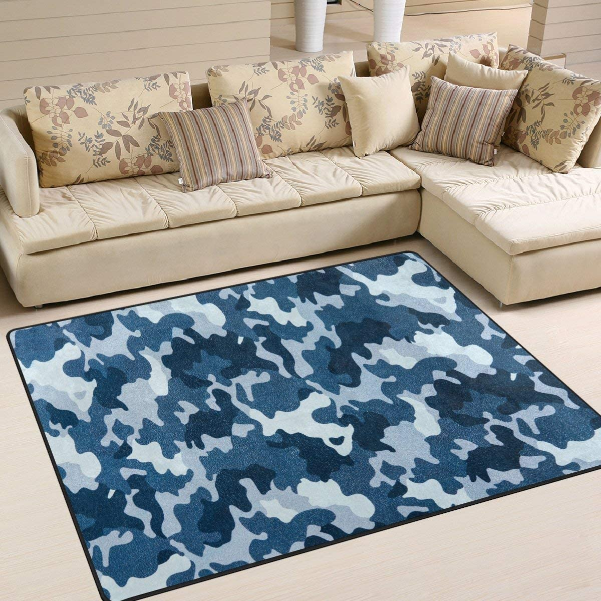 Area Rug 80x58 Inch Columbus Mall Blue Camouflage Bed Military Max 80% OFF Room for Living
