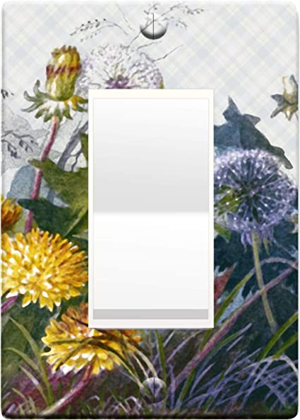 3d Effect Printed Maxi Metal Deborah Griscom Passmore Watercolor Flowers Switch Plate Cover Light Switch Outlet Cover Dandelion L0100 1 Gang Rocker
