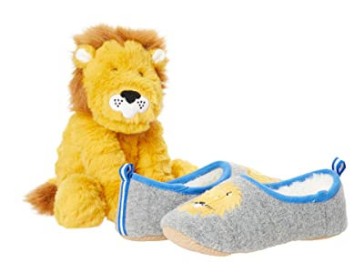 Joules Kids Slipper and Soft Toy Gift Set (Toddler/Little Kid) (Grey Lion) Boy