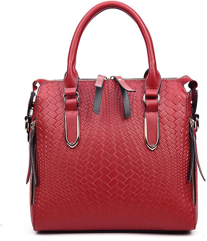 ALLHM Handtasche geprägt Temperament Handtaschen Handtaschen Handtaschen Mode Mode Schulter Messenger Bag Kapazität für mehrere Taschen (Farbe   Weinrot, größe   OneGröße) B07MNRNT7L  Elegant natürlich 68b131