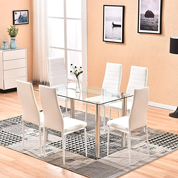4HOMART Dining Table With Chairs 7 PCS Glass Table Set Modern Tempered Glass Top Table And PU Leather Chairs With 6 Chairs Dining Room Furniture White