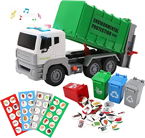 """high quality 12"""" Garbage online Truck Toys Trash Truck Recycle Truck with Sound and Light, online Friction Powered Truck with 4 Garbage Cans, Push and Go Pull Back Car, Environmental Education Toys, Birthday Gift for Boys online sale"""