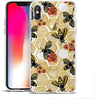 Fashion Cute Bee Printed Clear Design Case for iPhone Xs max, MAYCARI Soft TPU Bumper Protective Case Cover for Girls Women
