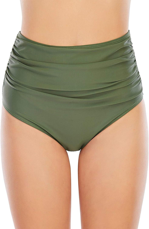 Zando Women's High Waisted Bikini Bottoms Tankini Swim Shorts Black Bathing Suit Bottoms Ruched Briefs for Women Army Green L