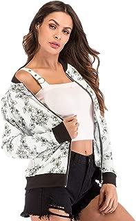 Dawwoti Women's Baseball Bomer Coat Flower Print Casual Outwear