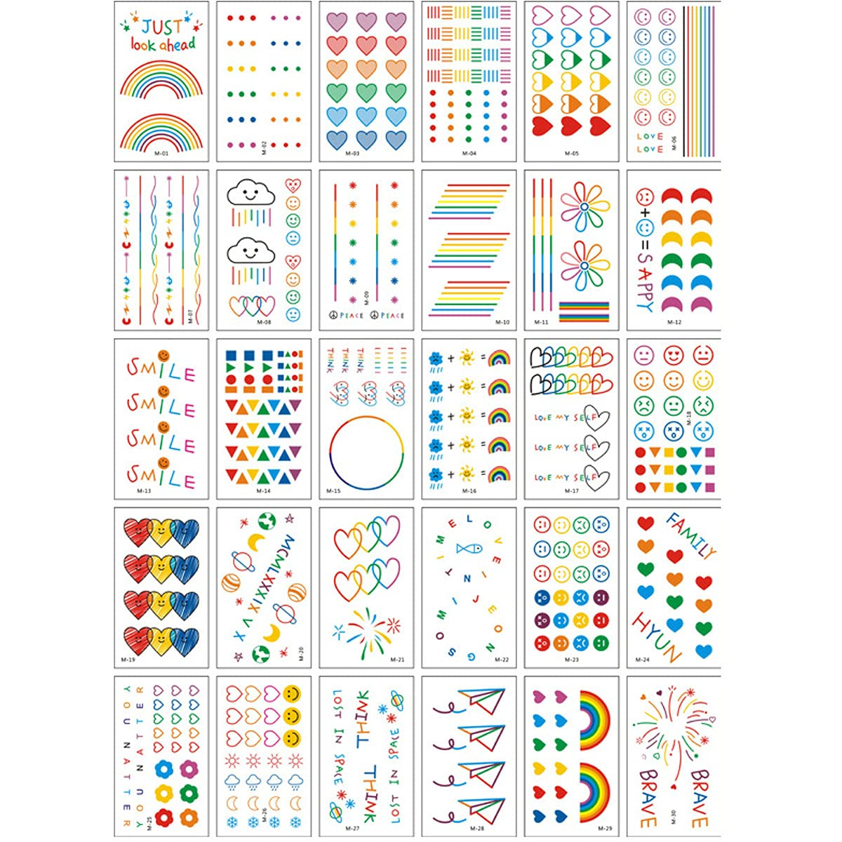30 Sheets Rainbow Temporary Tattoos Popular product - Fl Time sale Butterfly Pride