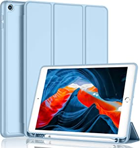 iMieet iPad 8th Generation Case 2020 10.2 Inch with Pencil Holder, iPad 7th Gen 2019 Case with Soft Baby Skin Silicone Back and Full Body Protection, Auto Wake/Sleep Cover (Sky Blue)