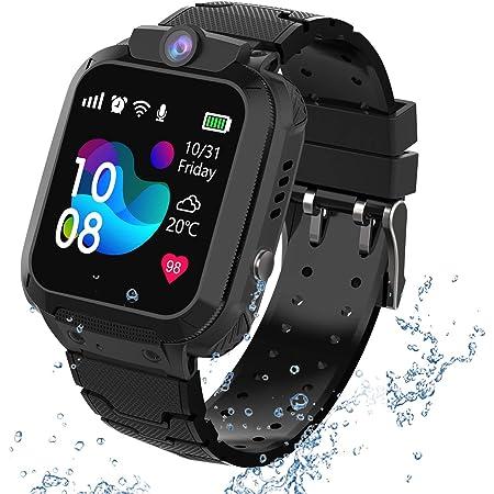 GPS Reloj Smartwatch para niños, impermeable GPS Rastreador Reloj anti-perdida de teléfonos inteligentes SOS, llamada bidireccional juegos matemáticas - regalo para para Niños Niña 3-12 Años, Black
